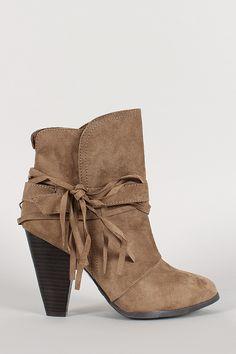 Qupid Suede Buckle Fringe Almond Toe Ankle Bootie