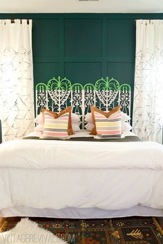 Spearmint Color Blocked Vintage Wicker Headboard - amazing headboard, color combo, pillows = very refreshing