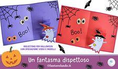 Biglietti per Halloween: un fantasma dispettoso The Creator, Snoopy, Halloween, Logos, Fictional Characters, Art, English, English Lessons, Art Background