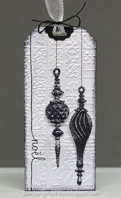 Christmas Black & White Ornament Tag - StampingMathilda