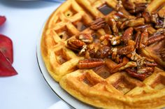 Cardamom Pumpkin Waffles with Chai Spiced Maple Pecans (Gluten Free, Paleo, Refined Sugar Free)   Sprouted Routes