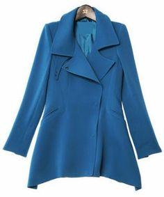 Royal Blue Long Sleeve Notch Lapel Trench Coat