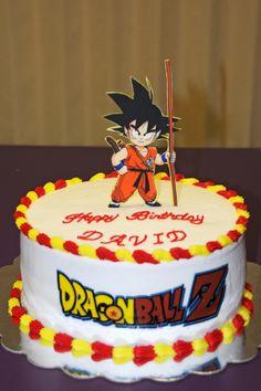 Dragon Ball Z birthday cake - Character is an edible image on fondant. Logo is also an edible image.