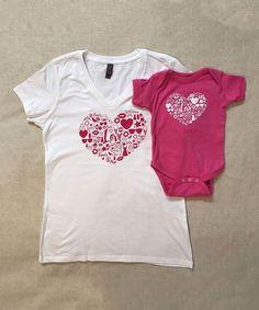 White & Raspberry Heart V-Neck Tee & Bodysuit - Infant Toddler Girls & Women