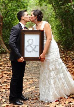 """HALI ROSE PHOTOGRAPHY - Bride & Groom holding """"&"""" sign"""