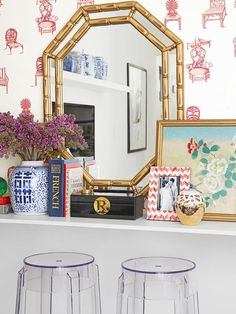 all you need is a shelf, a large mirror and a stool to create a pretty vanity #hgtvmagazine http://www.hgtv.com/decorating-basics/decorating-ideas-for-small-spaces/pictures/page-3.html?soc=pinterest#