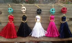 Dress to Kill Sugar Skull Earrings with a Little Dress and Little Hands Made of...