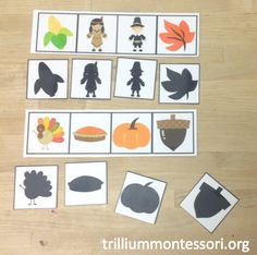 Thanksgiving Shadow Matching Cards (from Over the Big Moon via Trillium Montessori)