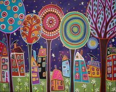 Night Village    20x16 original abstract folk art modern acrylic and oil painting on stretched canvas by Karla G