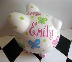 Personalized Piggy Bank Butterfly Design in Brights Size Large. $28.00, via Etsy.