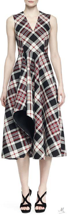 Alexander McQueen Ruffled Plaid Midi Dress Tartan Dress, Tartan Plaid, Latest Fashion Trends, Tweed, Alexander Mcqueen, Style Inspiration, Designer Clothing, Houndstooth, Herringbone