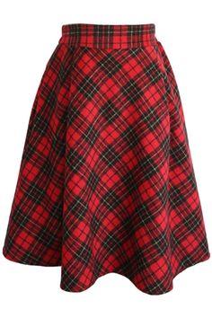 Simple Vintage Plaid A-Line Midi Skirt