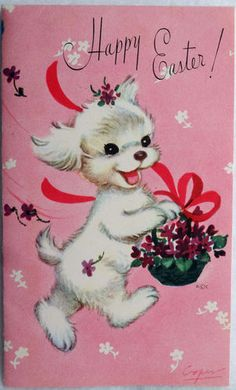 Frisky Puppy Dog Vintage~ If I used these, I would Photoshop the word 'Easter' out of it