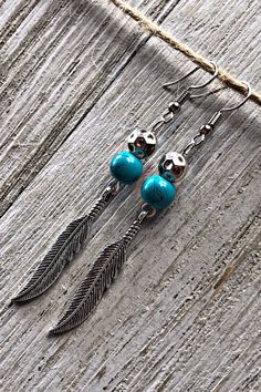 Handmade Jewelry Attractive Blue Turquoise Sterling Silver Overlay Earring 2
