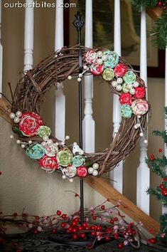Grape vine wreath with fabric flowers. As well as tutorial on how to make fabric flowers.