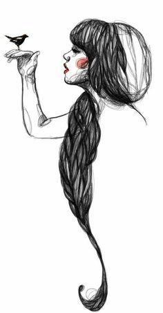Illustration by Paula Bonet Sketch Manga, Drawing Sketches, Art Drawings, Drawing Ideas, Sketching, Paula Bonet, The Garden Of Words, Arte Sketchbook, Art Et Illustration