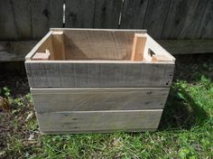 Single Small Storage Crate Pallet Reclaimed Wood Primitive Handmade Unfinished Box Natural 16x12x10 $40