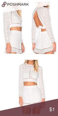 🎈Gorgeous ! 🎈ATIKSHOP two-piece summer short-set Two-piece white short set. SIZE MED worn once.  Purchased at a Miami boutique Pants Jumpsuits & Rompers