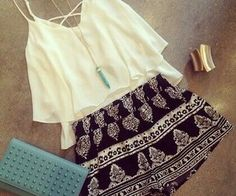 printed shorts white top summer top beach gold bracelet cuff bracelet black and white shorts shorts top ruffle criss cross back summer outfits cute outfits outfit spring outfits turquoise pendant spaghetti strap top Look Fashion, Teen Fashion, Fashion Outfits, Womens Fashion, Fashion Ideas, Ladies Fashion, Teenager Fashion, Fashion Trends, Fashion 2014