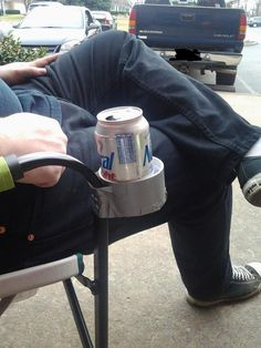 51 Crazy Life Hacks - If your lawn chair doesn't have a cup holder, Macgyver yourself one with duct tape.