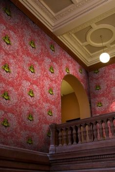 I love Timorous Beasties wallpaper: Imperial Apairy Red wallpaper Empire Wallpaper, Red Wallpaper, Wallpaper Samples, Home Wallpaper, Timorous Beasties, Design Repeats, Dining Room Walls, Brighten Your Day, Designer Wallpaper