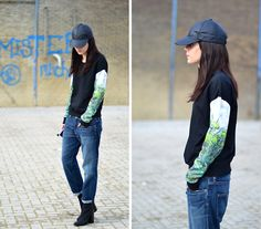 Boyfriend Jeans, Leather Cap | Boyfriend (by Lucy De B.) | LOOKBOOK.nu