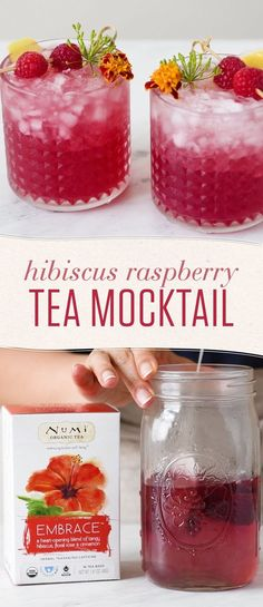 Skip the booze and go big on flavor with this hibiscus tea mocktail. This non-alcoholic treat will keep you hydrated and refreshed all summer! non alcoholic drinks Hibiscus Raspberry Mocktail Refreshing Drinks, Fun Drinks, Yummy Drinks, Healthy Drinks, Mixed Drinks, Healthy Food, Beverages, Nutrition Drinks, Healthy Recipes