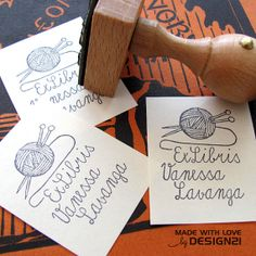 Knit personalised bookplate stamp 3x4 cm by lida21 on Etsy, $16.00