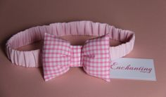 Pink Gingham Bow Headband - Baby Headband & Toddler Headband - Children Headband -  Cotton Headband for Newborn to Child