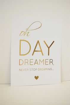 8.5x11 Daydreamer Gold Foil Print, The Smitten Collection