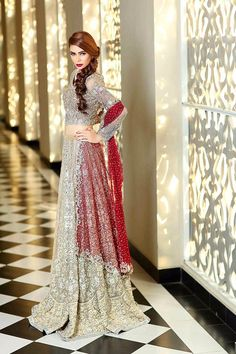 Maria B bridal dresses 2017 2018 are lunch for wedding ceremonies of modern girls and women with new style of design. Maria B is a great design of bridal Indian Bridal Fashion, Pakistani Bridal Dresses, Pakistani Dress Design, Indian Dresses, Bridal Gowns, Pakistani Couture, Walima Dress, Pakistani Outfits, Fashion Designer