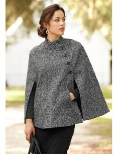 Cape Jackor in 2020 Poncho Coat, Cape Coat, Capes For Women, Clothes For Women, Fashion Pants, Fashion Outfits, Fall Outfits, Casual Outfits, Top Mode