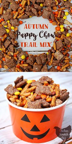 Autumn Puppy Chow Trail Mix Autumn Puppy Chow Trail Mix Autumn Puppy Chow Trail Mix Autumn Puppy Chow Trail Mix Autumn Puppy Chow Trail Mix rezepte selber machen mix mix bar mix bar wedding mix recipes mix recipes for kids Fall Snack Mixes, Fall Snacks, Halloween Food For Party, Fall Treats, Halloween Treats, Halloween Trail Mix Recipe, Thanksgiving Trail Mix Recipe, Fall Trail Mix Recipe, Peanut Butter