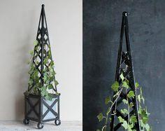 Vintage Topiary Tall Black Obelisk Trellis Wrought Iron Garden Planter with Tin Insert  32 Inches High