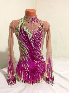Velvet fusia bright green | Champion Leotards Cheer Outfits, Rhythmic Gymnastics Leotards, Figure Skating Dresses, Acro, Bright Green, Couture Dresses, Body, Skate, Hair Beauty
