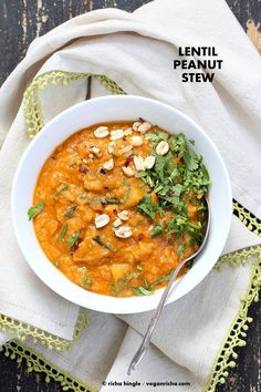 African Peanut Lentil Soup. African Peanut Stew with lentils and veggies. Harissa Spice, Nut butter, Sweet potato, veggies and lentils. Vegan Gluten-free Recipe
