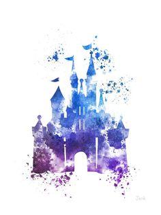 Watercolor   Disney   Cinderella   Castle