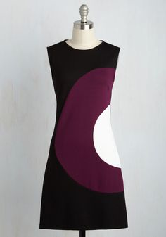 Choose Your Words Cheerfully Dress in Plum - Purple, Solid, Work, Vintage Inspired, 60s, Colorblocking, Shift, Sleeveless, Fall, Knit, Best, Mid-length, Variation, Black, Mod