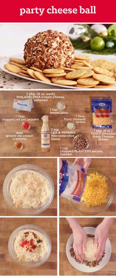 Party Cheese Ball – Known to frequent party menus, this creamy appetizer recipe with a nutty exterior doesn't stick around long. Grab PHILADELPHIA cream cheese, cheddar cheese, pecans, bell peppers, and cayenne to get started with this delicious dip.