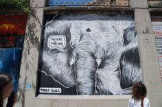 """Pedro Sega. Proyecto """"Muros"""".#ArteTabacalera Promoción del Arte #ArteUrbano #StreetArt Madrid Día de la Inauguración. #Arterecord 2014"""