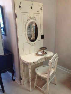 Love this door turned  vanity desk