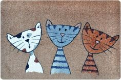 Designer Door & Floor Mat for your hallway, bathroom, indoor and outdoor areas – Anti-slip and Washable – Practical mud wiper and dust trap DOORMAT – Cats Triplets 40 x 60 cm Beige Beige, Kids Rugs, Triplets, Outdoor Areas, Amazon Fr, Free Delivery, Home Decor, Orange, Shopping