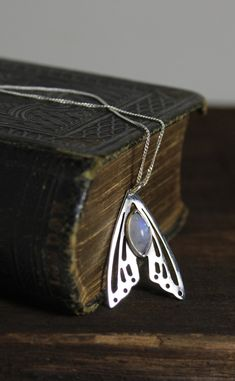 Breath of Life Moonstone Butterfly Wings Hand Cut Sterling Silver Necklace