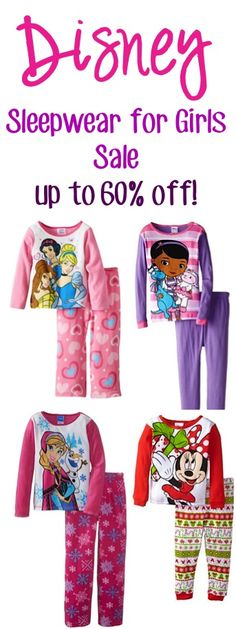 Disney Sleepwear for Girls Sale: up to 60% off!! {so many CUTE Pajama Sets for your little girl!} - Doc McStuffins, Disney Princess, Minnie Mouse, Frozen + more! #pajamas #thefrugalgirls