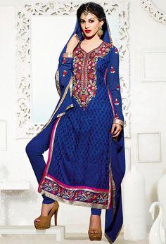 USD 31.49 Blue Brasso Pakistani Style Suit 55876
