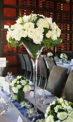 tall wedding centrepieces martini glass - hide the oasis with pearls Tall Wedding Centerpieces, Floral Centerpieces, Vase Arrangements, Wedding Flower Arrangements, Martini Glass Centerpiece, Flower Decorations, Wedding Decorations, Floral Wedding, Wedding Flowers