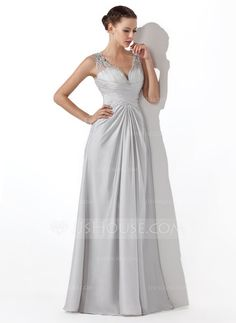 Prom Dresses - $142.99 - A-Line/Princess V-neck Floor-Length Tulle Charmeuse Prom Dress With Ruffle Beading (018004815) http://jjshouse.com/A-Line-Princess-V-Neck-Floor-Length-Tulle-Charmeuse-Prom-Dress-With-Ruffle-Beading-018004815-g4815