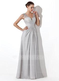 Prom Dresses - $142.99 - A-Line/Princess V-neck Floor-Length Tulle Satin Chiffon Prom Dress With Ruffle Beading (018004815) http://jjshouse.com/A-Line-Princess-V-Neck-Floor-Length-Tulle-Satin-Chiffon-Prom-Dress-With-Ruffle-Beading-018004815-g4815