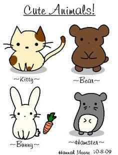 illustrated cute animals by Hannah Moore, Kitty, Bear, Bunny and Hamster drawing
