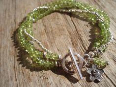 Triple bracelet  fine silver & peridot bracelet by kudzupatch, $65.00
